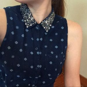 Abercrombie & Fitch Beaded Collar Shirt